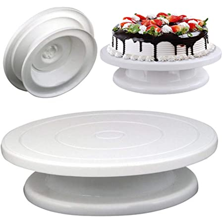 Lukzer Cake Turntable Table 360 Degree Rotating/Revolving Cake Decorating Stand (28CM)