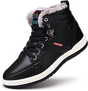 Mens Winter Boots Waterproof SONLLEIVOO Sneaker Ankle Fur Lined Black Lace up High Top Winter Shoes