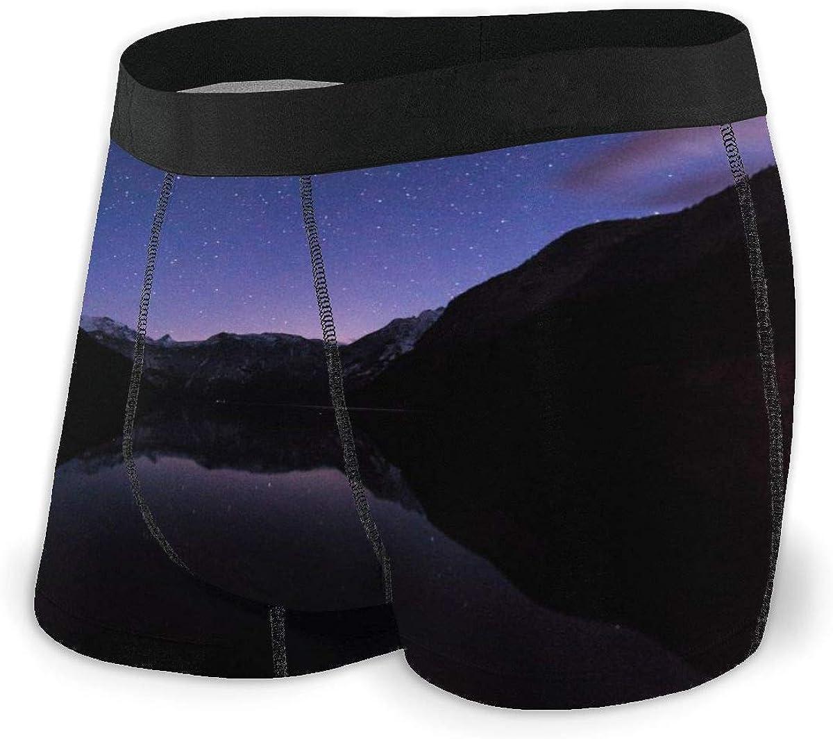 Mens Boxer Briefs Marvellous Alps Mountain Night Scenery Bikini Underwear Stretch Low Rise Trunks Boys Underpants