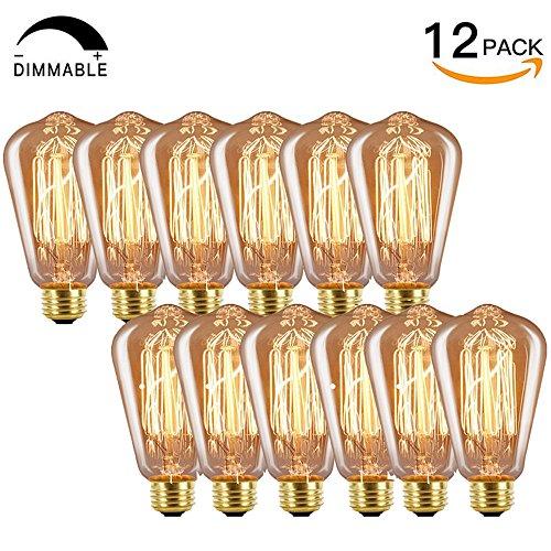 INNOCCY Edison Bulb Medium (E26) Standard Base Dimmable ST58 60W Vintage Light Bulb 2300K Warm White,Pack of 12