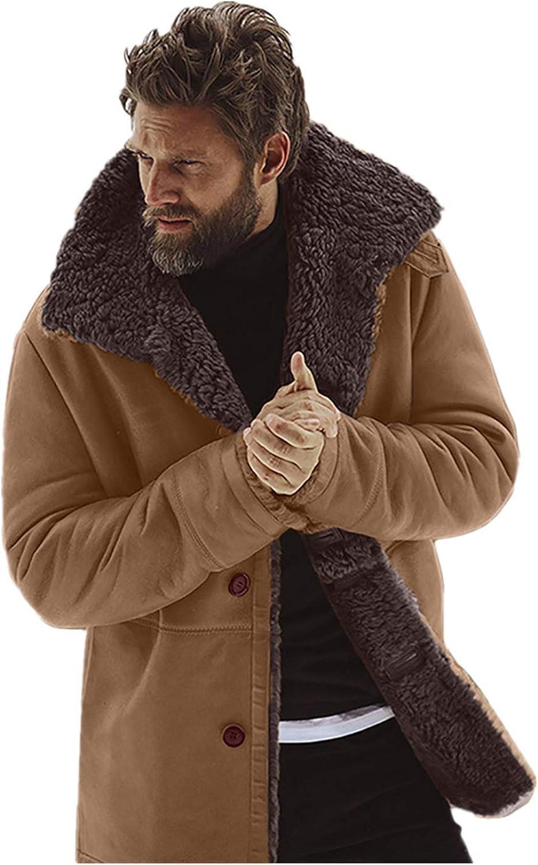Men's Winter Sheepskin Jacket Warm Wool Lined Mountain Faux Lamb Coat Tops