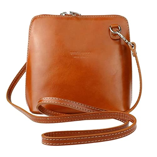 Genuine Italian Leather Small Cross Body Handbag or Shoulder Bag (Tan)