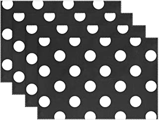 LEISISA Set of 6 Placemats,Black White Polka Dot Heat-Resistant Stain Placemats for Dining Table