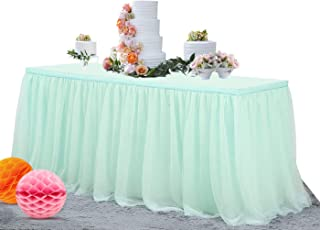NSSONBEN 14FT Mint Green Tulle Table Skirt Elastic Grenadine Tutu Table Skirting for Baby Shower Wedding Party Decoration(L168in×H30in)