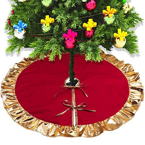 """CIVIKY Falda de árbol de Navidad de 36""""Phnom Penh, decoración de año Nuevo con Borde de Volantes Cubierta de pie de árbol de Navidad Suministros de Navidad-Rojo_90cm/36inch"""