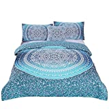 Sleepwish 4 Pcs Bohemian Bedding Set King Size Duvet Cover Sets Boho Crystal Arrays Bedding Quilt Bedspread Mandala Hippie Bedspread Chic Bed Set Turquoise