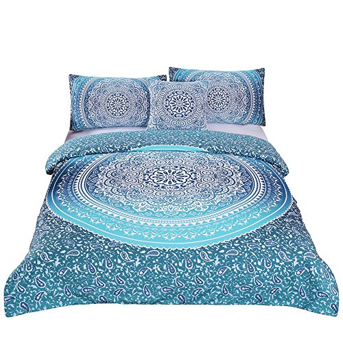 Sleepwish 4 Pcs Bohemian Bedding Set King Size Duvet Cover Sets Boho Crystal Arrays Bedding Quilt Bedspread Mandala Hippie Bedspread Chic Bed Set Turquoise