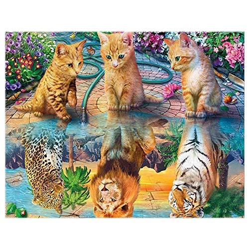 KAIBINY 5Dダイヤモンド絵画タイガーライオョッパーラウンドダイヤモンド刺繍風景ダイヤモンド動物アート