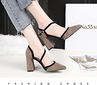 KTYXDE Spring and Autumn Women's Shoes Stitching Fashion High Heels Pointed Shallow Mouth Thickening Women's Shoes Professional Street Women's Shoes 34-39 Yards Women's Shoes