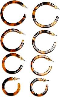 4 Pairs Acrylic Hoop Earrings Tortoiseshell Fashion Leopard Geometric Tortoise Shell Resin Hoop Earrings for Women (32 34 40 42mm)