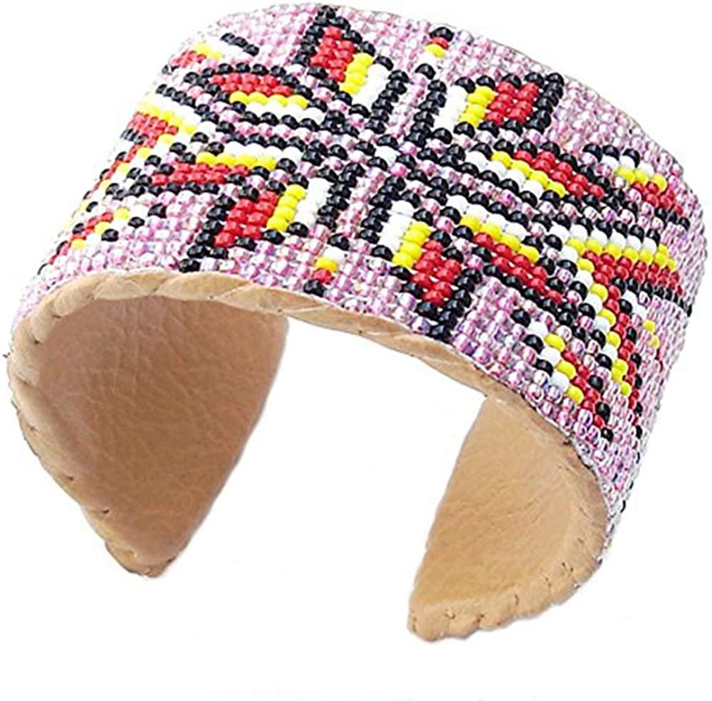 Handmade Beaded Indian Fashion Jewelry Pink Red Native Cuff Bracelet Leather 6.5 X 1.5 Inch Multicolor