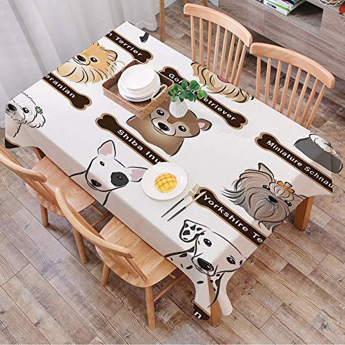 Rechteck Tischdecke140 x 200 cm,Hundeliebhaber Dekor, verschiedene Arten von Hunden Typenschild Boston ,Couchtisch Tischdecke Gartentischdecke, Mehrweg, Abwaschbar Küchentischabdeckung für Speisetisch