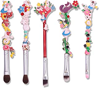 Cute Fairy Makeup Brush Set - 5pcs Wand Makeup Brushes with Premium Synthetic Fiber and Flower Handle for Blush, Foundation, Eyebrow, Eyeshadow, and Lips, Prefect Gift for Sister