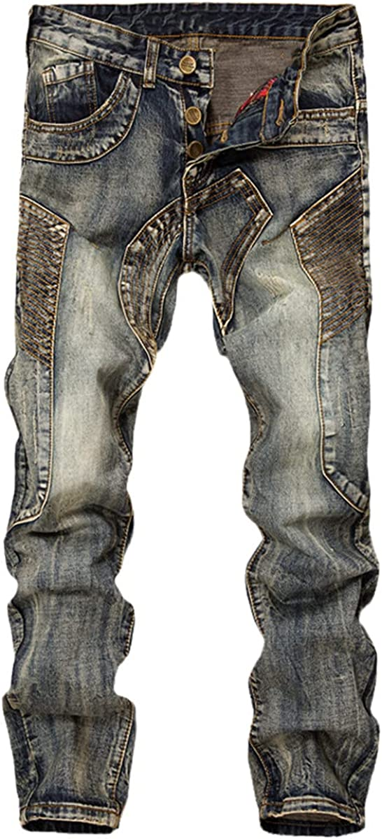 CACLSL Men's Jeans Stitching Denim Trousers Motorcycle Straight Casual Design Multi-Pocket Comfort
