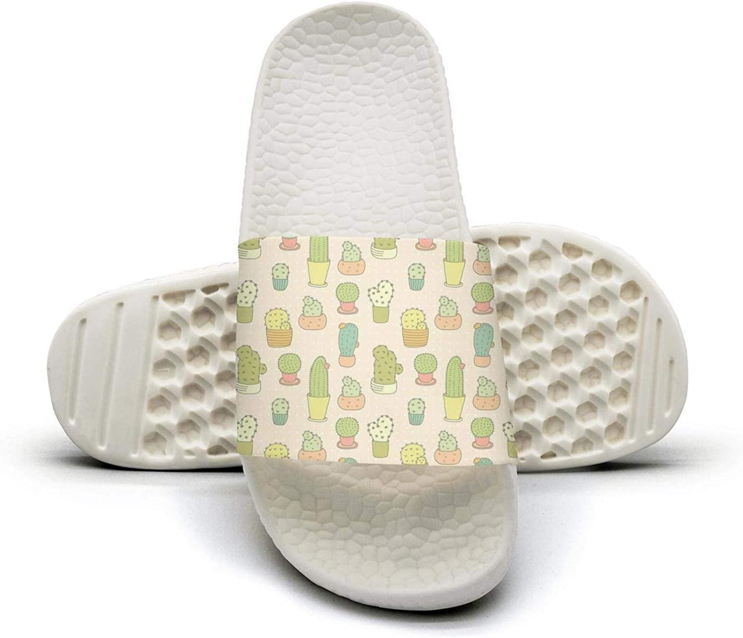 Woman Cute Cactus Pattern Slip on Beach Sandals and Anti-Slip Shower Slipper Comfort Sandals