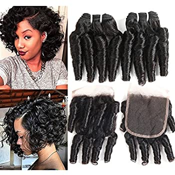 Molefi Brazilian Funmi Hair Curly Weave 4 Bundles with Lace Closure Spiral Curl Hair Bundles with 2x4 Closure 100% Human Hair Extensions 50g/pc Natural Black  8 8 8 8 +8