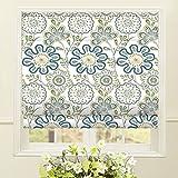 Artdix Roman Shades Blackout Window Shades - Blue Fabric Lined Custom Floral Roman Shades Blinds for Windows, Doors, French Doors, Kitchen Windows