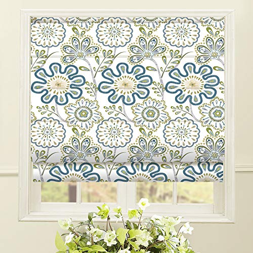 Artdix Roman Shades Blackout Window Shades - Blue Fabric Lined Custom Floral Roman Shades Blinds for Windows, Doors, French Doors, Kitchen Windows