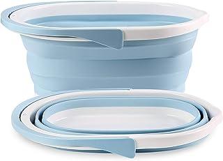 ShinePine Panier à Linge Ovale Pliable, Panier à Linge Pliable avec poignées en Plastique Durable (2 pièces, Bleu)