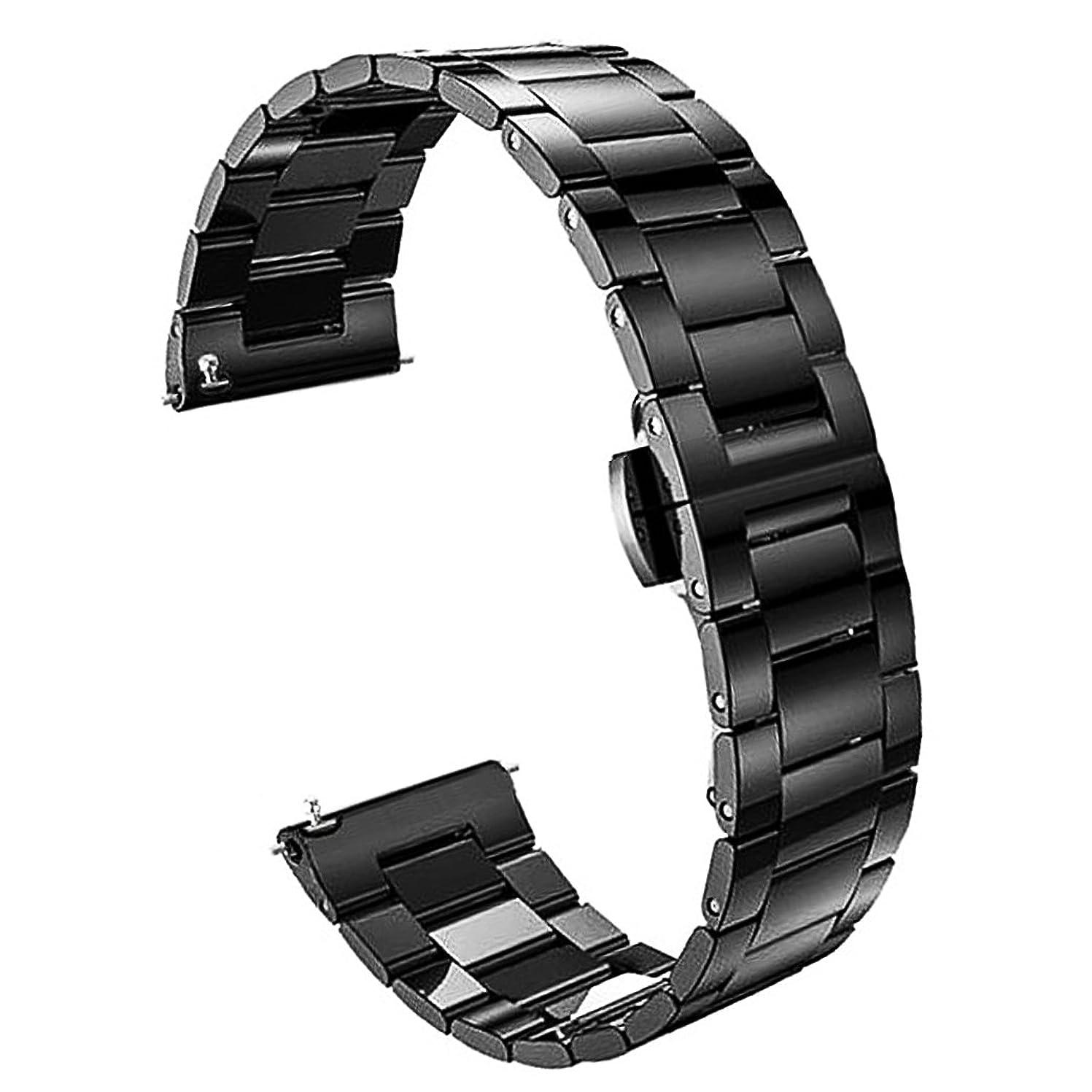 言うまでもなくオーストラリア人モッキンバード(ドノロロジオ)DonOrologio 腕時計 交換用 ベルト 22mm ステンレス 三連 メタル バンド ダブルプッシュ 観音開き 式 バックル サテン つや消し 仕上げ 直カン 取替 (ブラック)