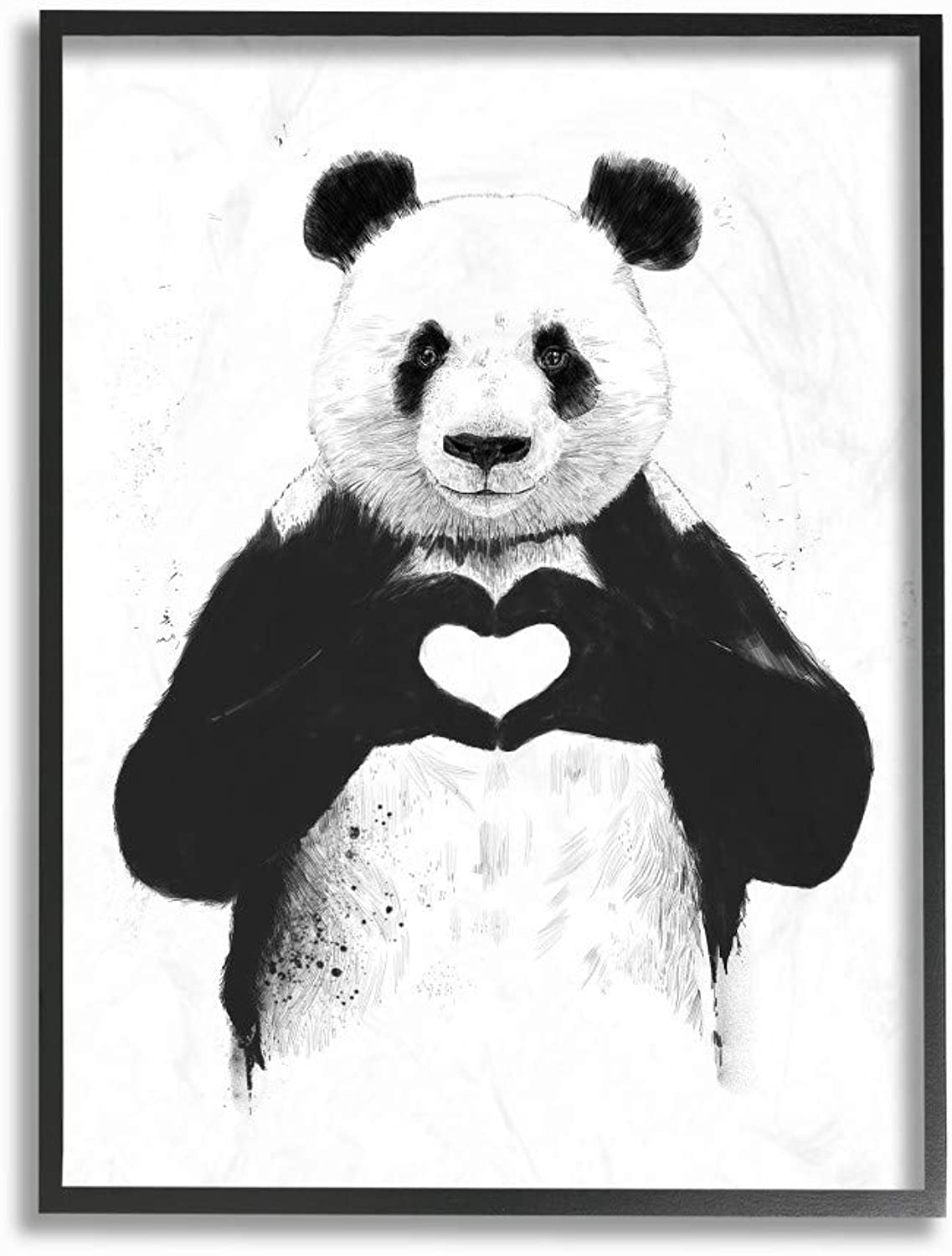 The Stupell Home Decor Collection Panda Bear Making A Heart Ink Framed Giclee Art, 16x20, Multicolor