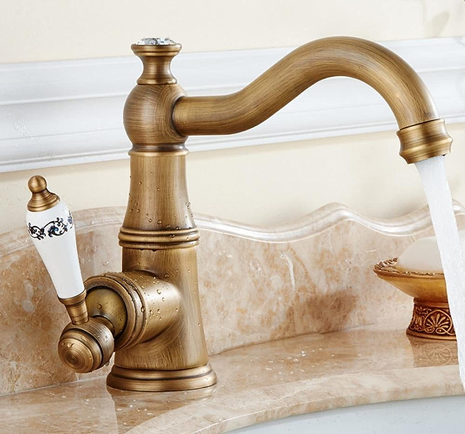 AIEK All Copper Antique Bathroom Basin Faucet, Single Hole Hot And Cold Water Mixing 360 ??redating Faucet