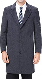 FASHINTY Men's Classical Style Single Breasted Long Dress Coat Wool Long Jacket #00123