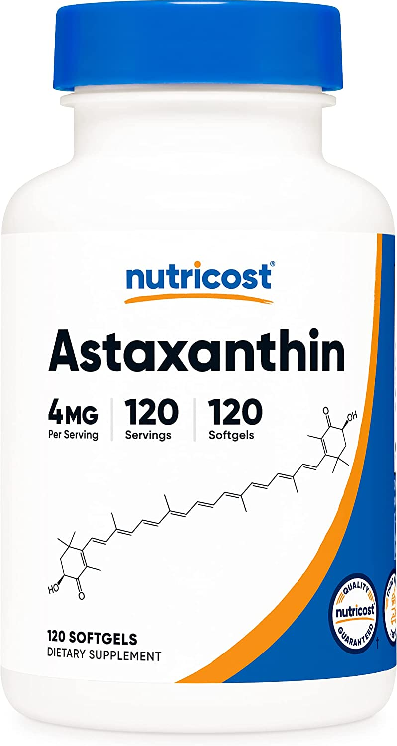 Nutricost Astaxanthin Max 58% OFF Outstanding 4mg 120 Softgels Non-GM Free - and Gluten