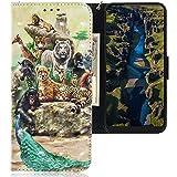 CLM-Tech Hülle kompatibel mit Motorola One Macro - Tasche aus Kunstleder - Klapphülle mit Ständer & Kartenfächern, Tiere bunt Mehrfarbig