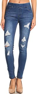 Jvini Women's Pull-On Ripped Destroyed Stretch Skinny Denim Jeggings Regular-Plus Size