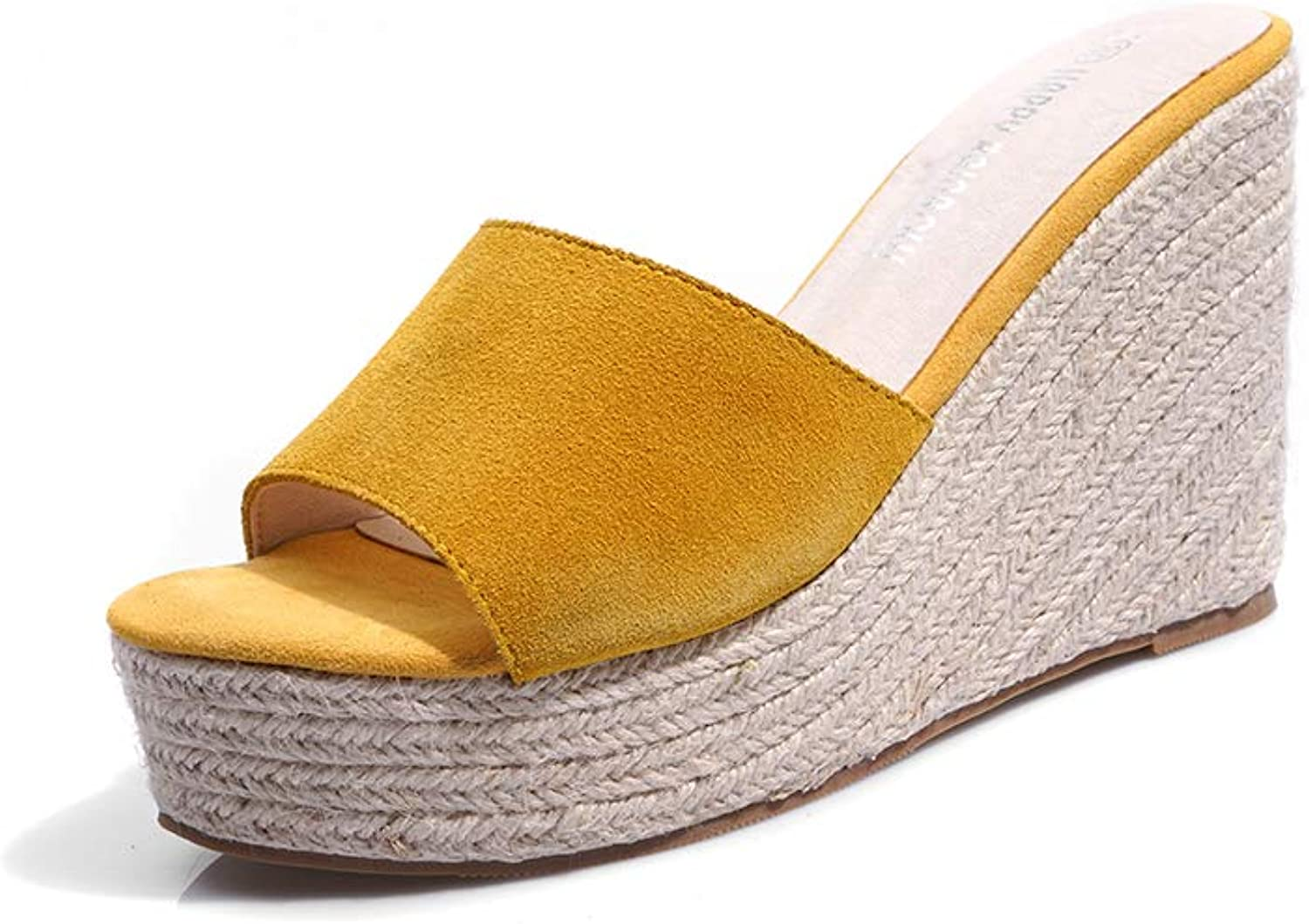Women's Sandals - Wedges with High Heel Platform Thick Base Scrub Leather Hemp Sandals and Slippers