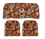 RSH Décor Indoor/Outdoor Wicker Cushions Two U-Shape and Loveseat 3 Piece Set Daelyn Cherry Red with Blue Yellow, Green Floral