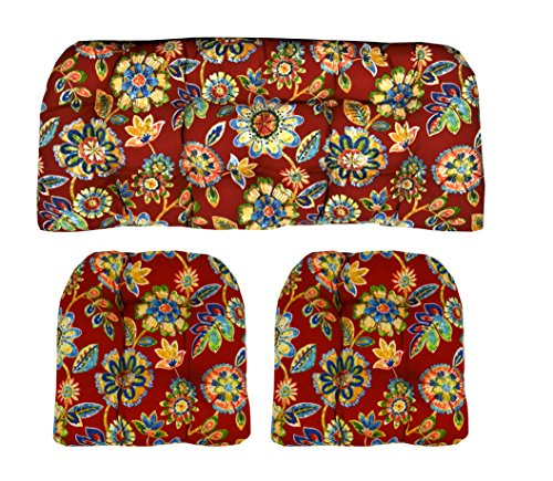 Indoor/Outdoor Wicker Cushions Two UShape and Loveseat 3 Piece Set Daelyn Cherry Red with Blue Yellow Green Floral