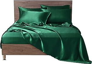 أغطية سرير من الساتان MR&HM، طقم ملاءات بحجم كبير، طقم سرير حريري 6 قطع مع جيب عميق 38.1 سم للمرتبة (الملك، أخضر داكن)