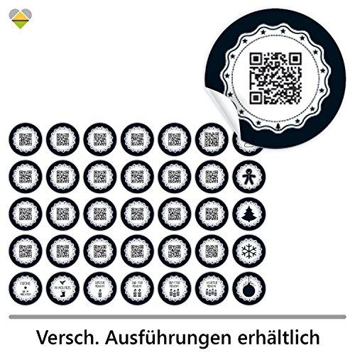 cute-head 24 Adventskalender-Zahlen + 11 Motive (Aufkleber Etiketten Sticker) | Originell als QR Code | Rund | S » Ø 24 mm | Gerahmt | FA0001-01
