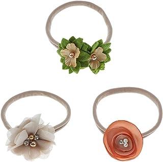 Distinguished Elegant Non-brand 3x Floral Design Headband For Newborn Kids Crown Cute Sweet Festive Headdress - Beige,Colo...