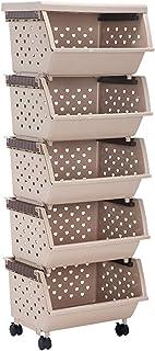 GUAWJRZDP Panier De Support Empilable,Bacs De Rangement Amovibles Empilables en Plastique,Boîte avec Roues Et Couvercle,po...