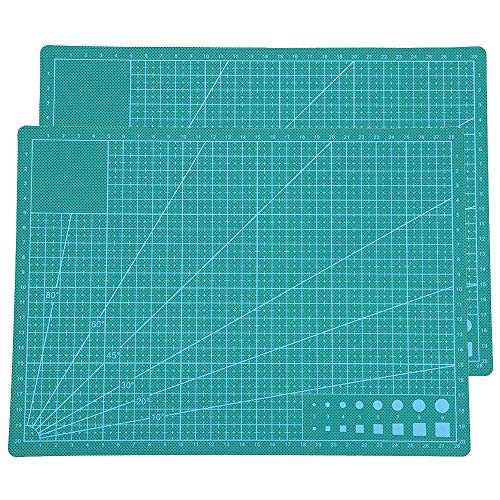 2 Pack A4 Durable PVC Grid Lines Cutting Mat, Self Healing Cutting Mat for Sewing, Writing, Craft Paper Carving, Double Sided Craft Mat (Green)