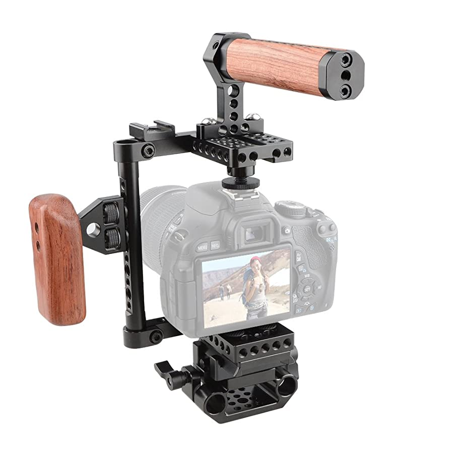 CAMVATE Camera Cage Wooden Handle with Quick Release Plate for 60D,70D,80D,5D MarkII,5D MarkIII(Left Handle)