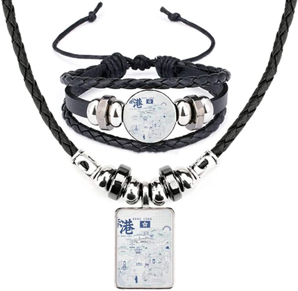 Hong Kong Famous Points China Leather Necklace Bracelet Jewelry Set