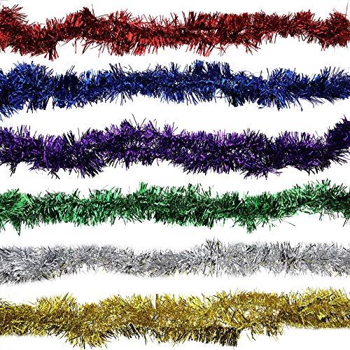 YINETTECH - 6 guirnaldas de espumillón de Navidad para techo de Navidad, multicolor, 200 x 9 cm