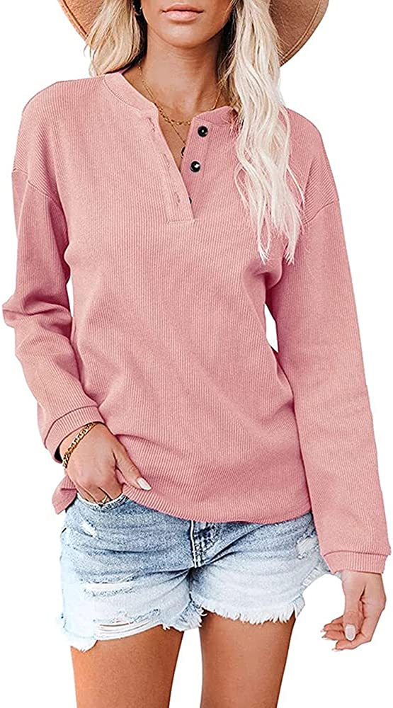 NEW-SOAR Women's Long Sleeve Tops Sacramento Mall V T Ranking TOP13 Neck Casual Shirts Blouses