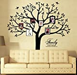 Large Family Tree Wall Decal with Butterflies and Birds Family Photo Tree Wall Decal Vinyl Wall Art Photo Frame Tree Stickers Living Room Home Decor Wall Sticker