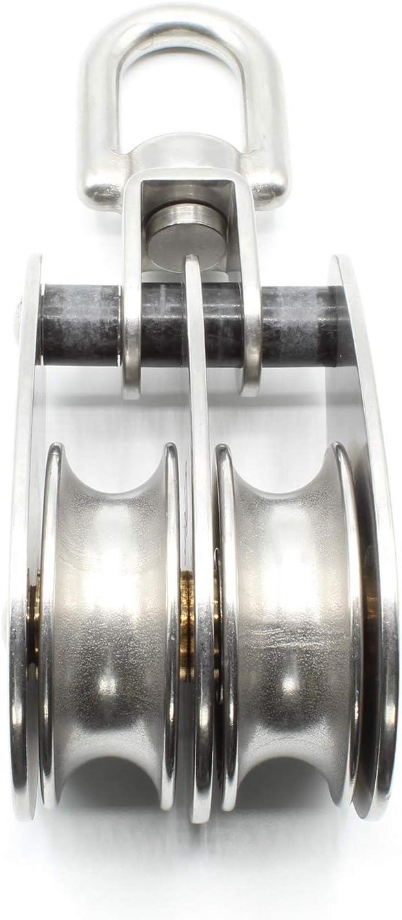 Doppel Blockseilrolle Edelstahl 25mm Edelstahlblock mit drehbarem Wirbel Umlenkrolle V2A AISI304 Bruchlast BS =690kg HEAVYTOOL/®