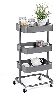 Giantex Rolling Utility Cart Mobile Storage Organizer Multifunctional Home Office Storage Trolley Serving Cart w/Metal Mesh Shelves Lockable Wheels (Gray, 3-Tier)