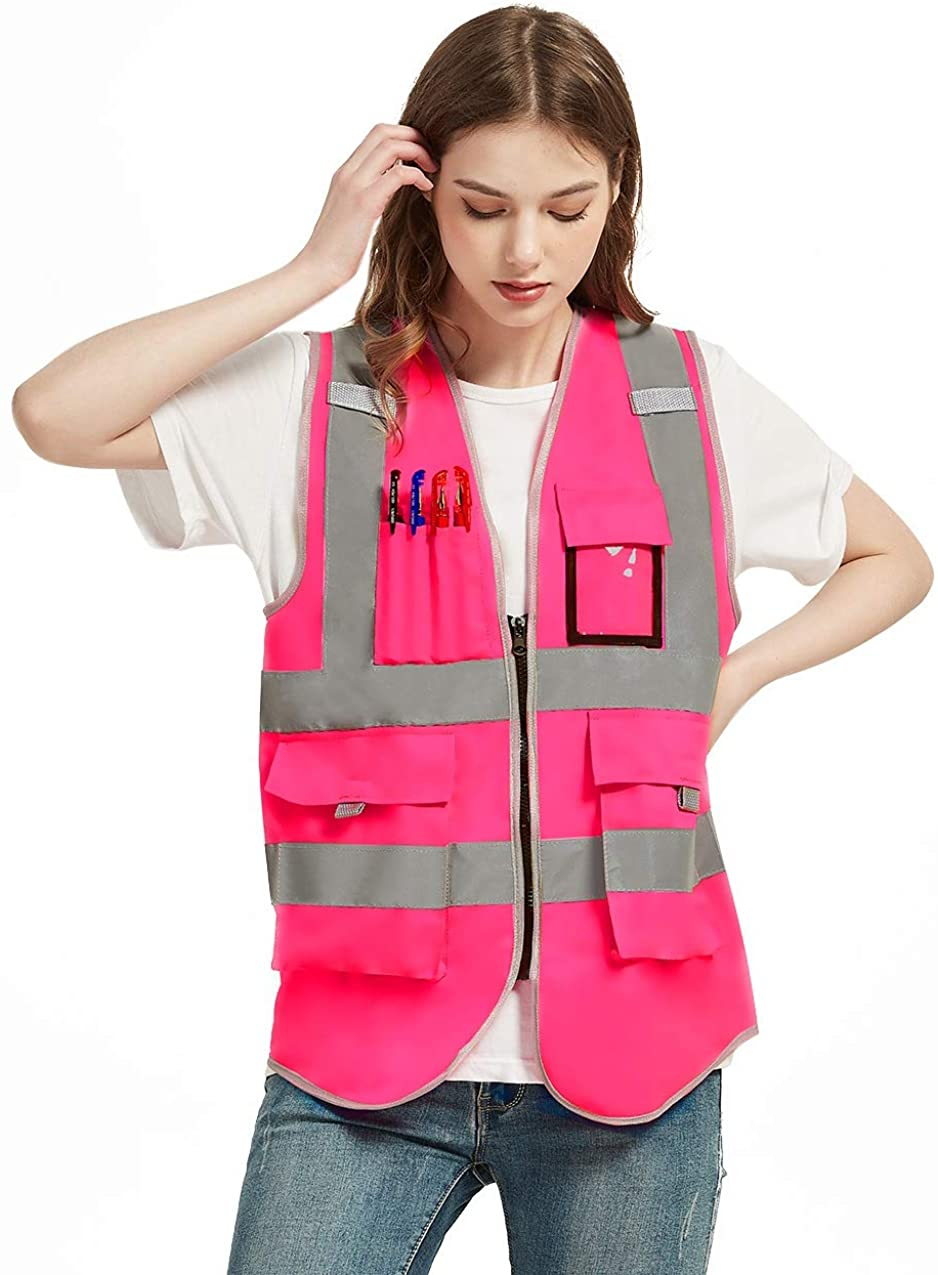 VICRR High Visibility Safety Vest Philadelphia Mall Pock Reflective Strips 9 famous with