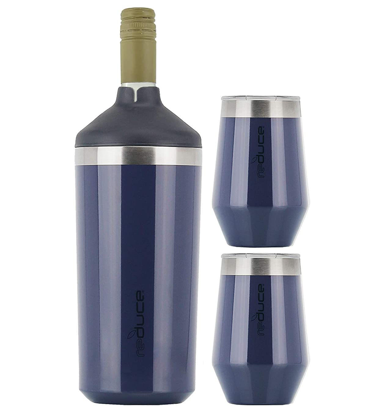 Reduce Wine Cooler Set - Stainless Steel Wine Bottle Cooler Set with 2 12oz Insulated Wine Tumblers - Keep Wine at the Perfect Temperature, No Ice Required, Fits Most Wine Bottles - Denim