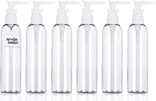 Newday Bottles,Empty Plastic Bottles with Lotion Pump Dispenser BPA-Free Refillable Containers (6 oz, Clear, Pack of 6)