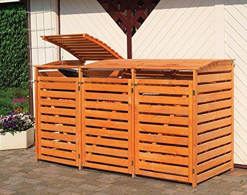 Promadino Mülltonnenbox Vario III für 3 Tonnen, braun