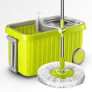 Microfiber Spinning Mop Easy Floor Mop W/Bucket 2 Heads 360 Rotating Head green YZPXZTB (color : Green)